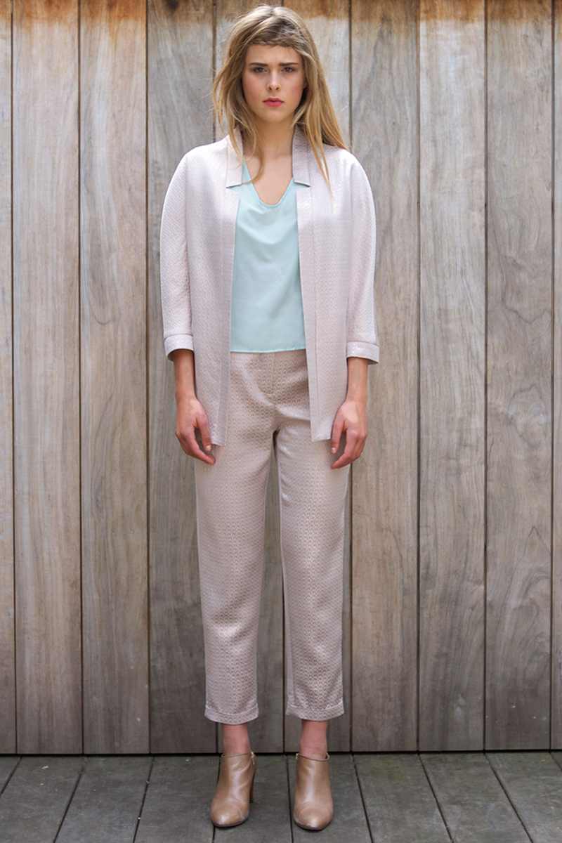 Edith-top-light-blue,-Brigitte-pants-pink-metalic,-April-vest-pink-metalic