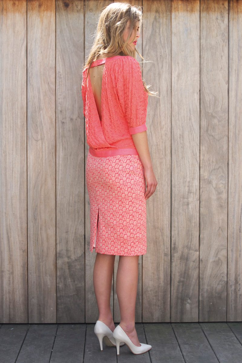 Ruby-shirt-coral,-Jane-skirt-coral-shell-back