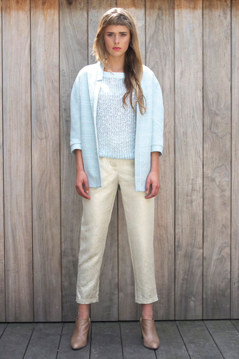Ruby-shirt-light-blue,-Brigitte-pants-gold,-April-vest-light-blue