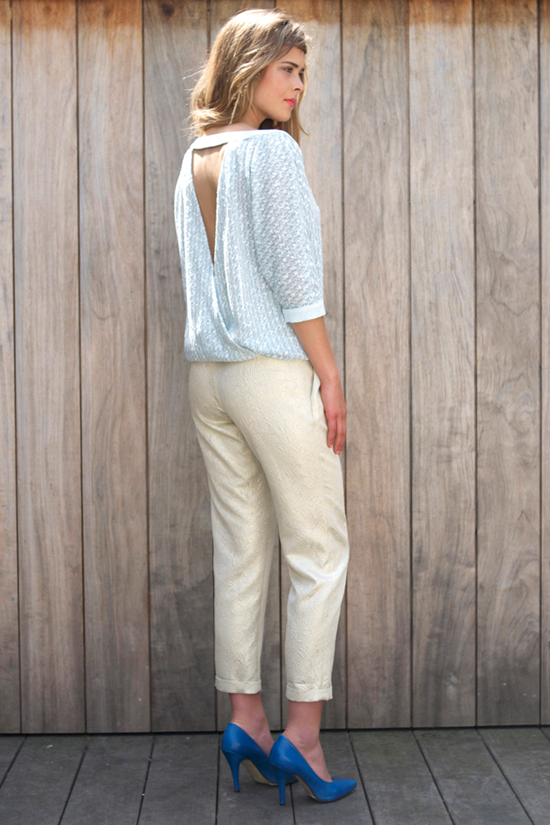 Ruby-shirt-light-blue,-Brigitte-pants-gold-back