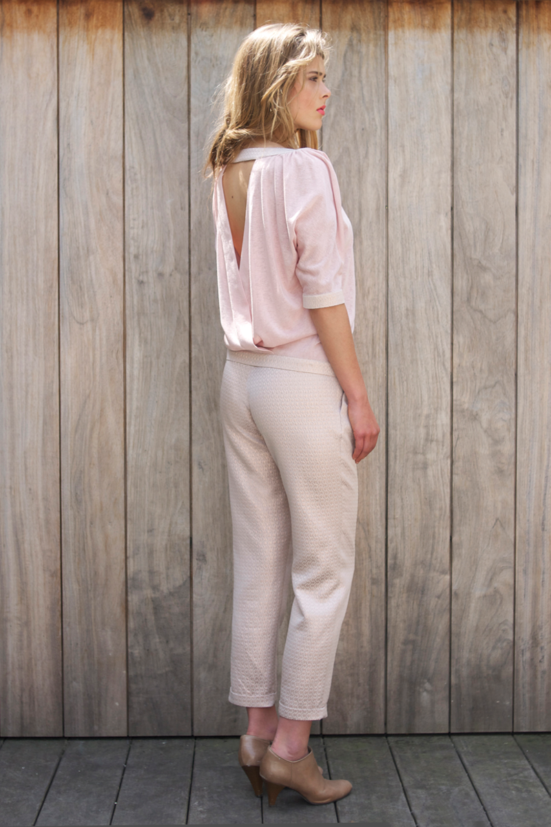 Ruby-shirt-pink,-Brigitte-pants-pink-metalic-back