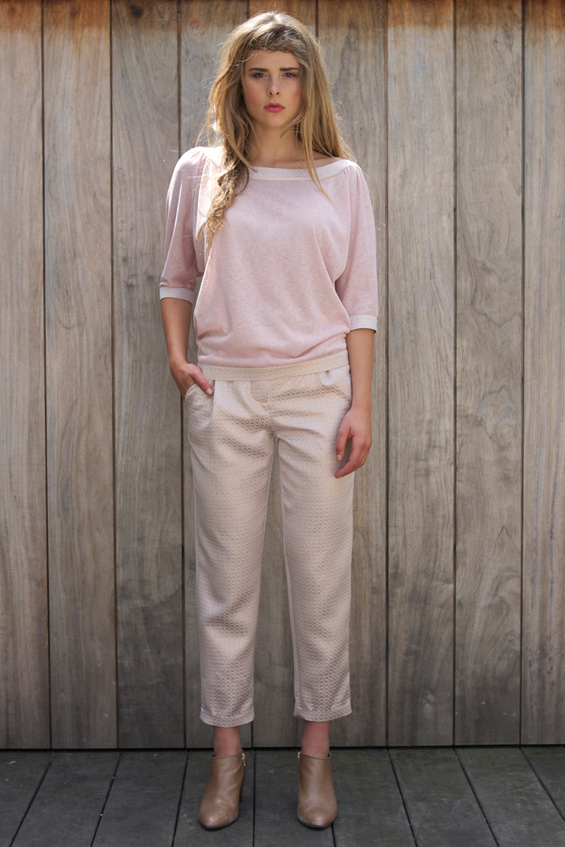 Ruby-shirt-pink,-Brigitte-pants-pink-metalic