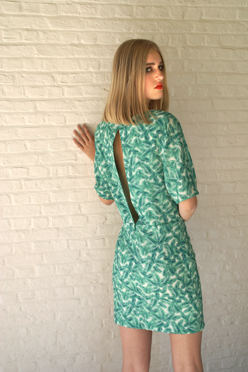 Lucy-dress-green-leaves-back-close