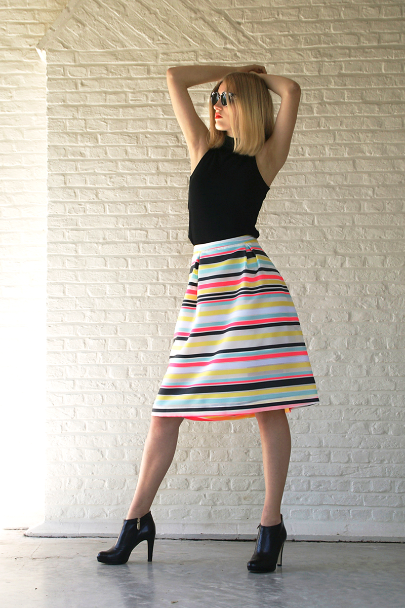 Nora-skirt-fluo-stripes-+-Jo-top-black