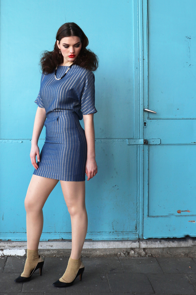 Lucy-dress-blue-gold-stripe-short